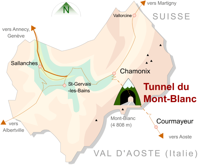 Carte - Tunnel du Mont-Blanc France