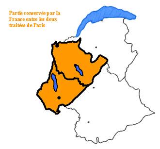 Partie conservée par la France entre les deux traités de Paris de 1814 et 1815