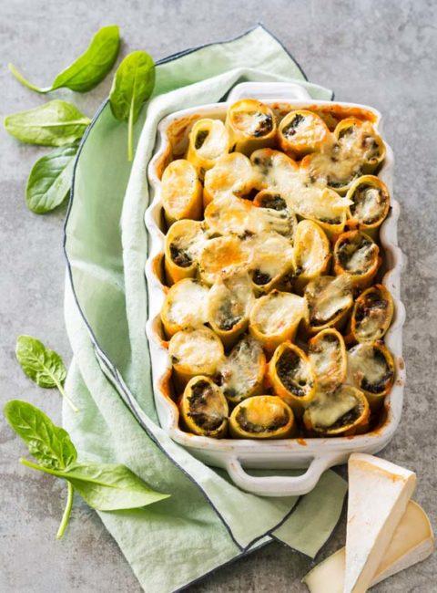 Cannelloni au bœuf, épinards et Reblochon